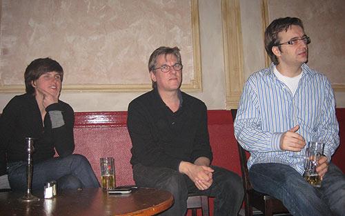 Judith Schalansky, Jan Middendorp und Adam Twardoch lauschen den Vorträgen